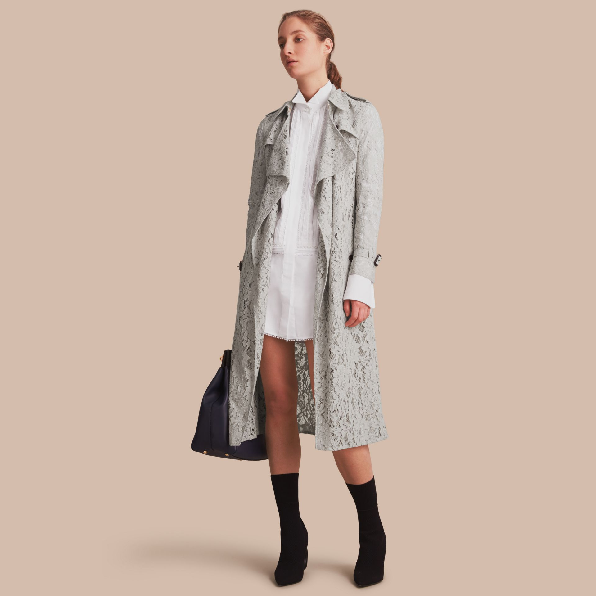 Macramé Lace Trench Coat Pale Grey - gallery image 1