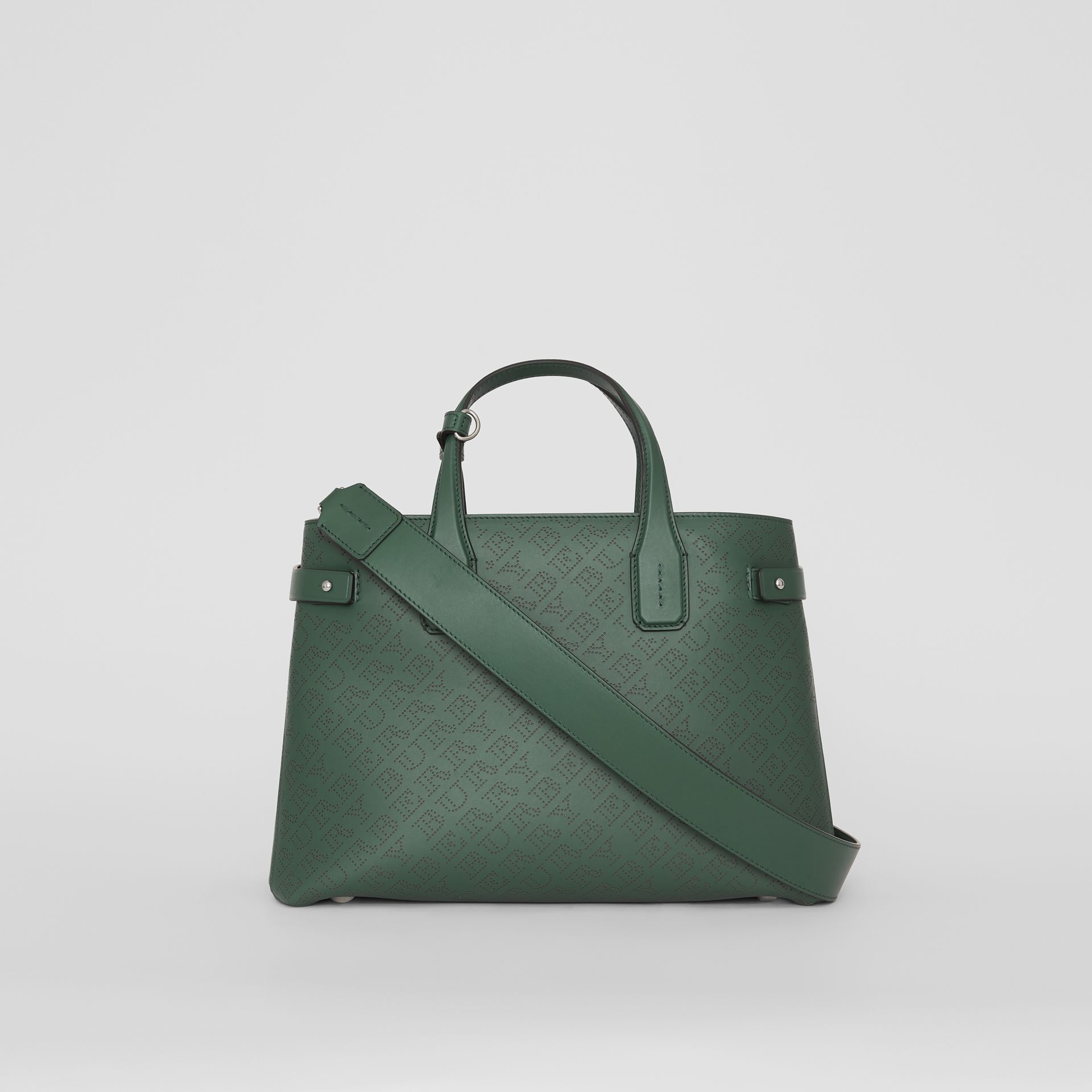 The Medium Banner in Perforated Logo Leather in Vintage Green - Women | Burberry - gallery image 7