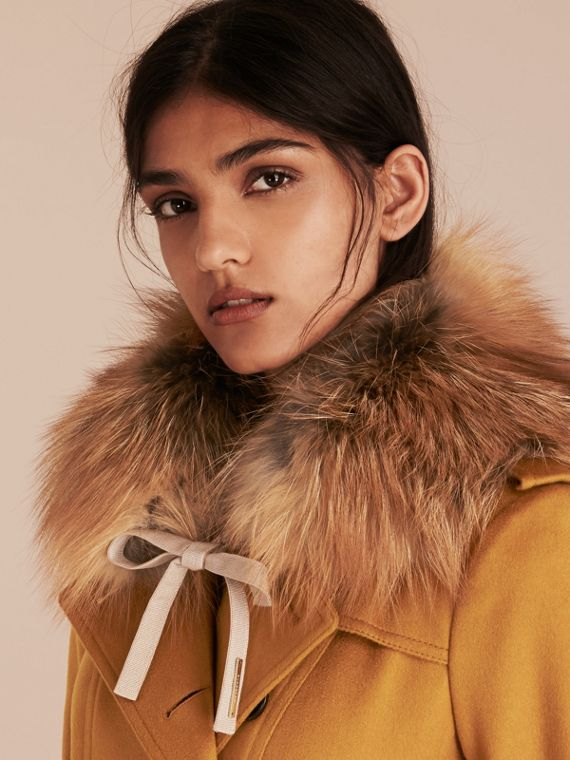 Fox Fur Collar with Check Cashmere Lining in Camel - Women | Burberry - cell image 2