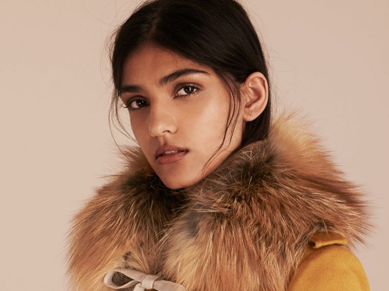 Fox Fur Collar with Check Cashmere Lining in Camel - Women | Burberry Canada - cell image 2