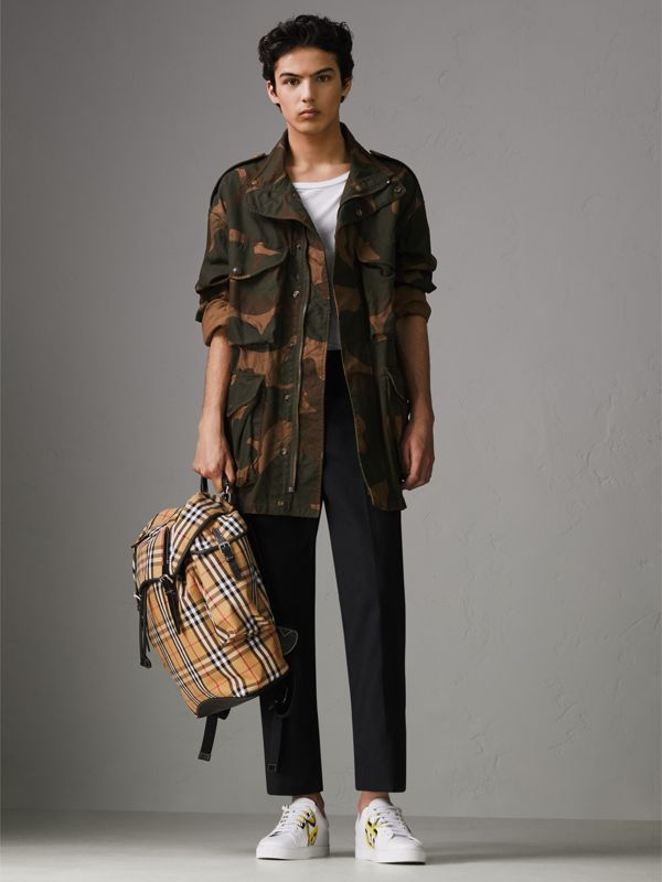 Vintage Check and Leather Backpack in Clementine - Men | Burberry - cell image 2