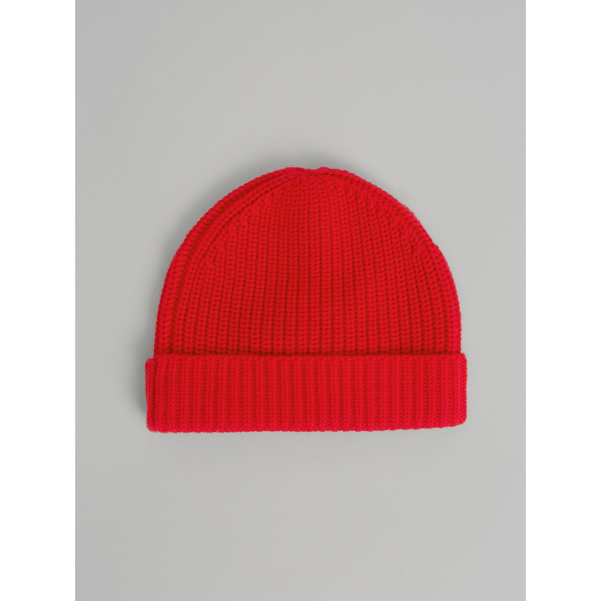 Logo Stripe Wool Turnback Beanie in Red | Burberry - gallery image 3