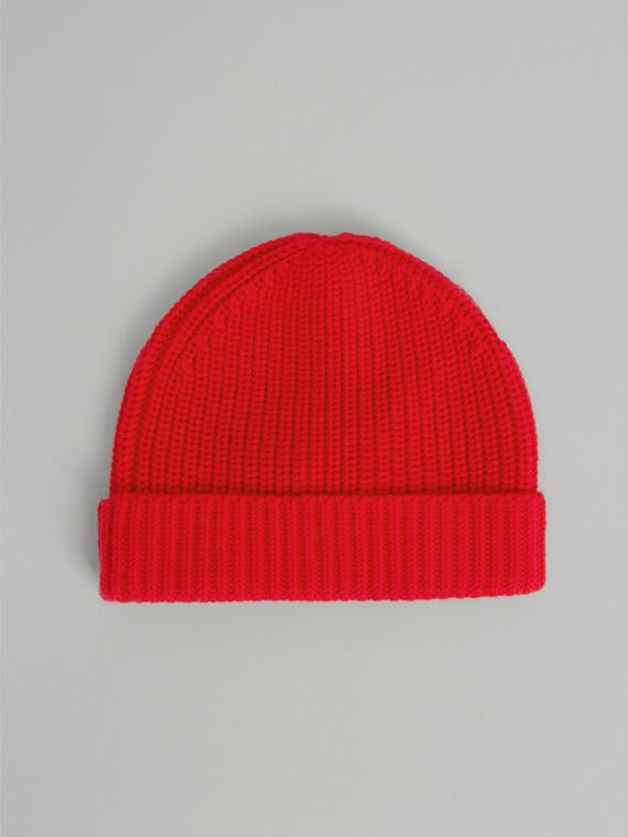 Logo Stripe Wool Turnback Beanie in Red | Burberry - cell image 3