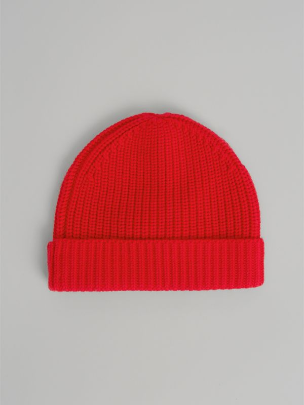 Logo Stripe Wool Turnback Beanie in Red | Burberry United Kingdom - cell image 3