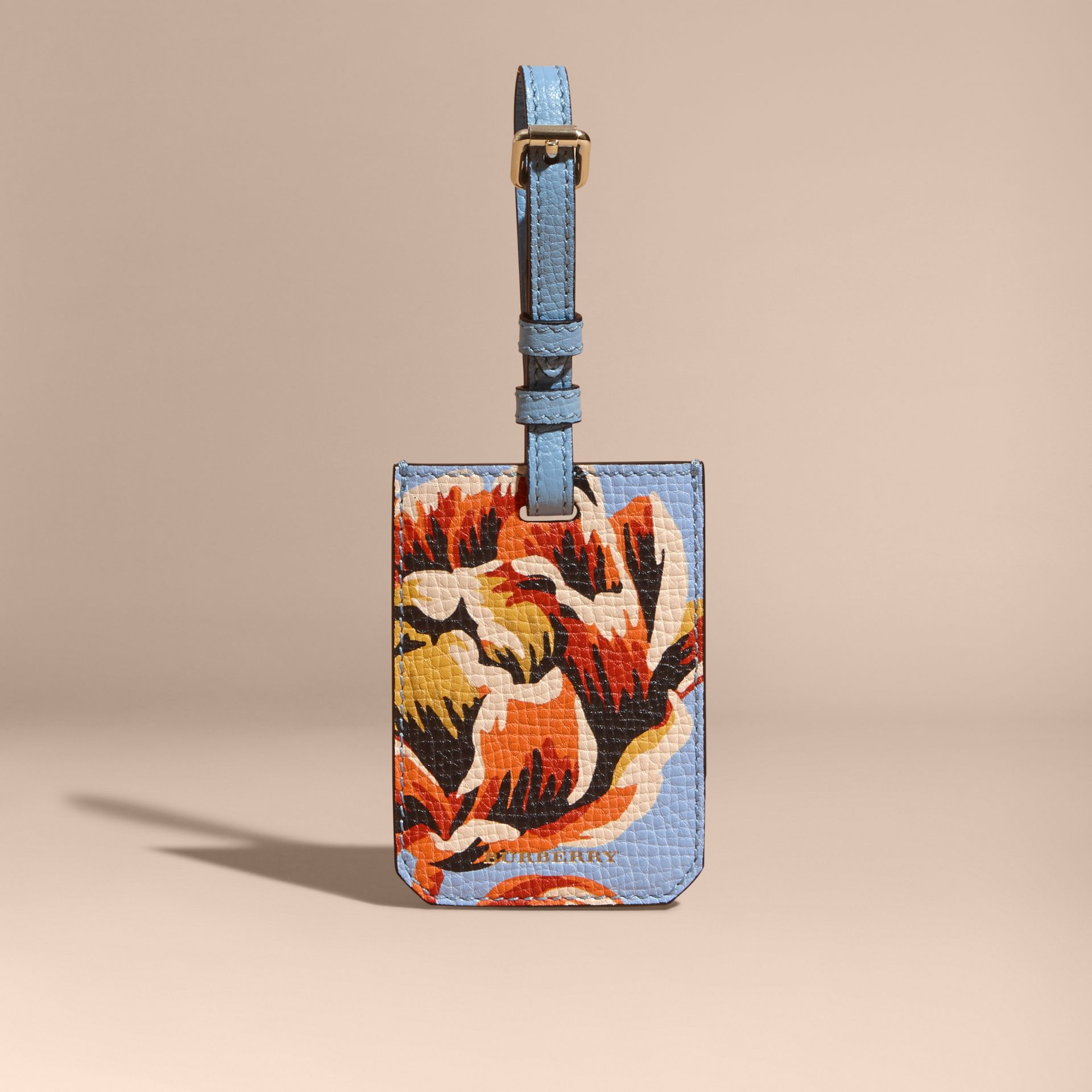 Peony Rose Print Grainy Leather Luggage Tag in Pale Blue/vibrant Orange - gallery image 5