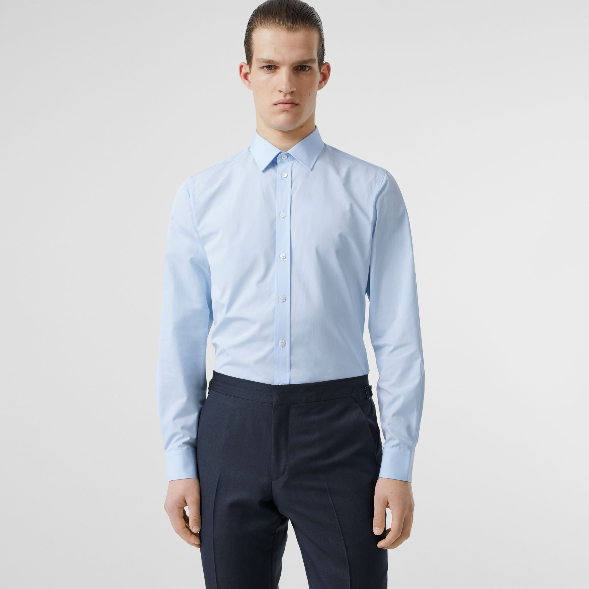 Slim Fit Monogram Motif Cotton Poplin Shirt in Pale Blue - Men | Burberry Singapore - gallery image 0