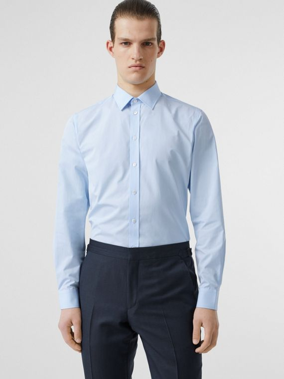 Slim Fit Monogram Motif Cotton Poplin Shirt in Pale Blue