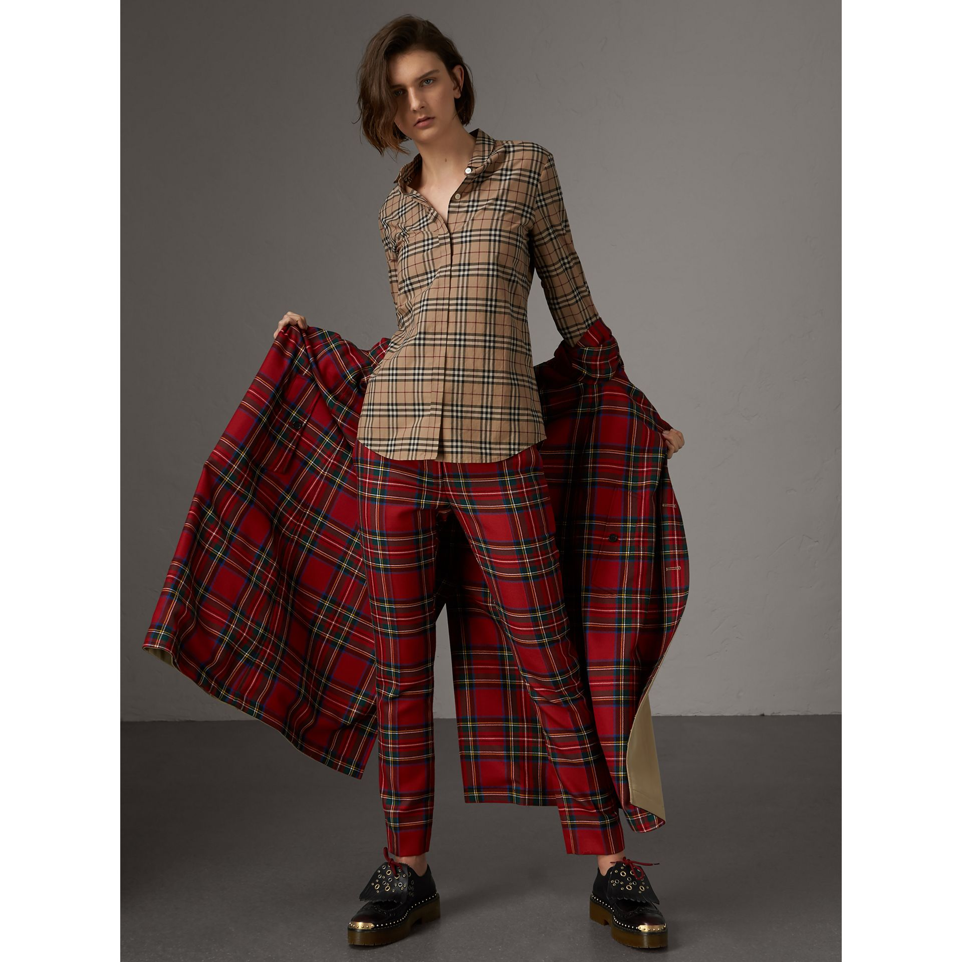 Check Cotton Shirt in Camel - Women | Burberry - gallery image 0
