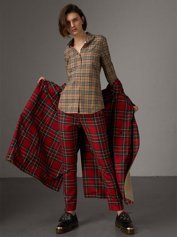 Vintage Check Cotton Shirt in Camel