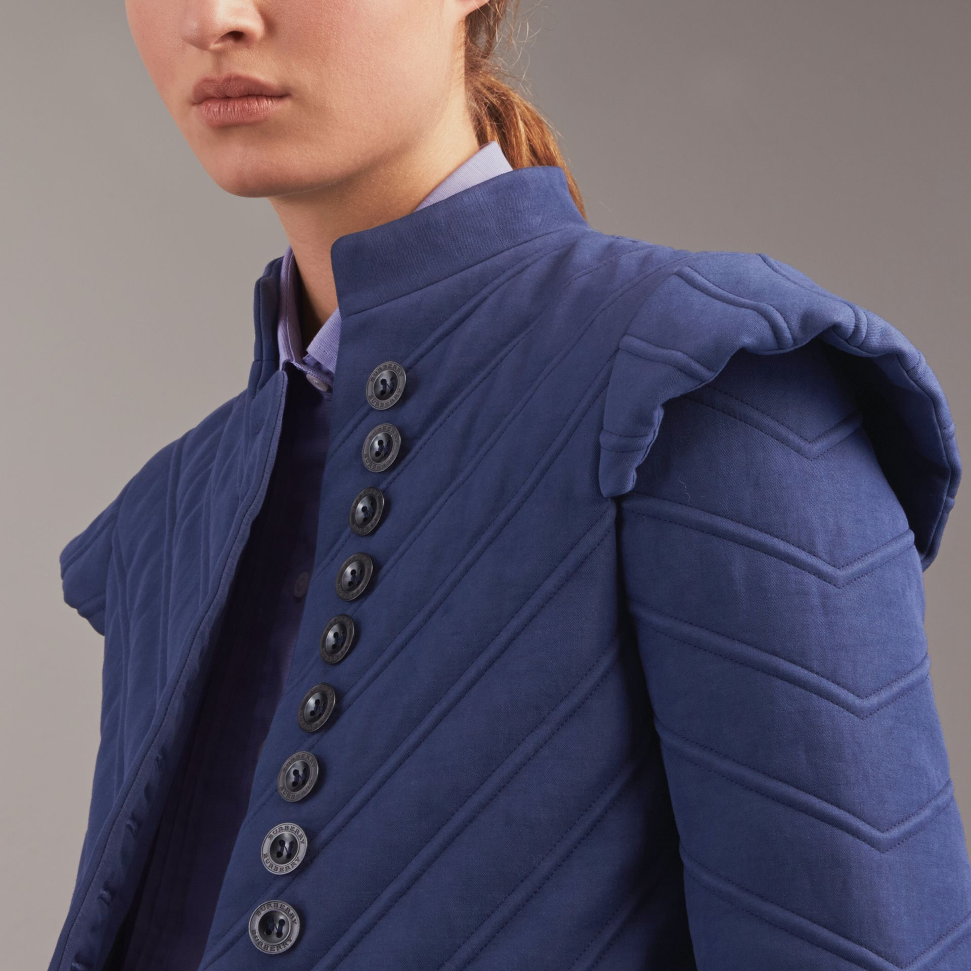 Quilted Ramie Cotton Military Jacket in Indigo - Women | Burberry - gallery image 6