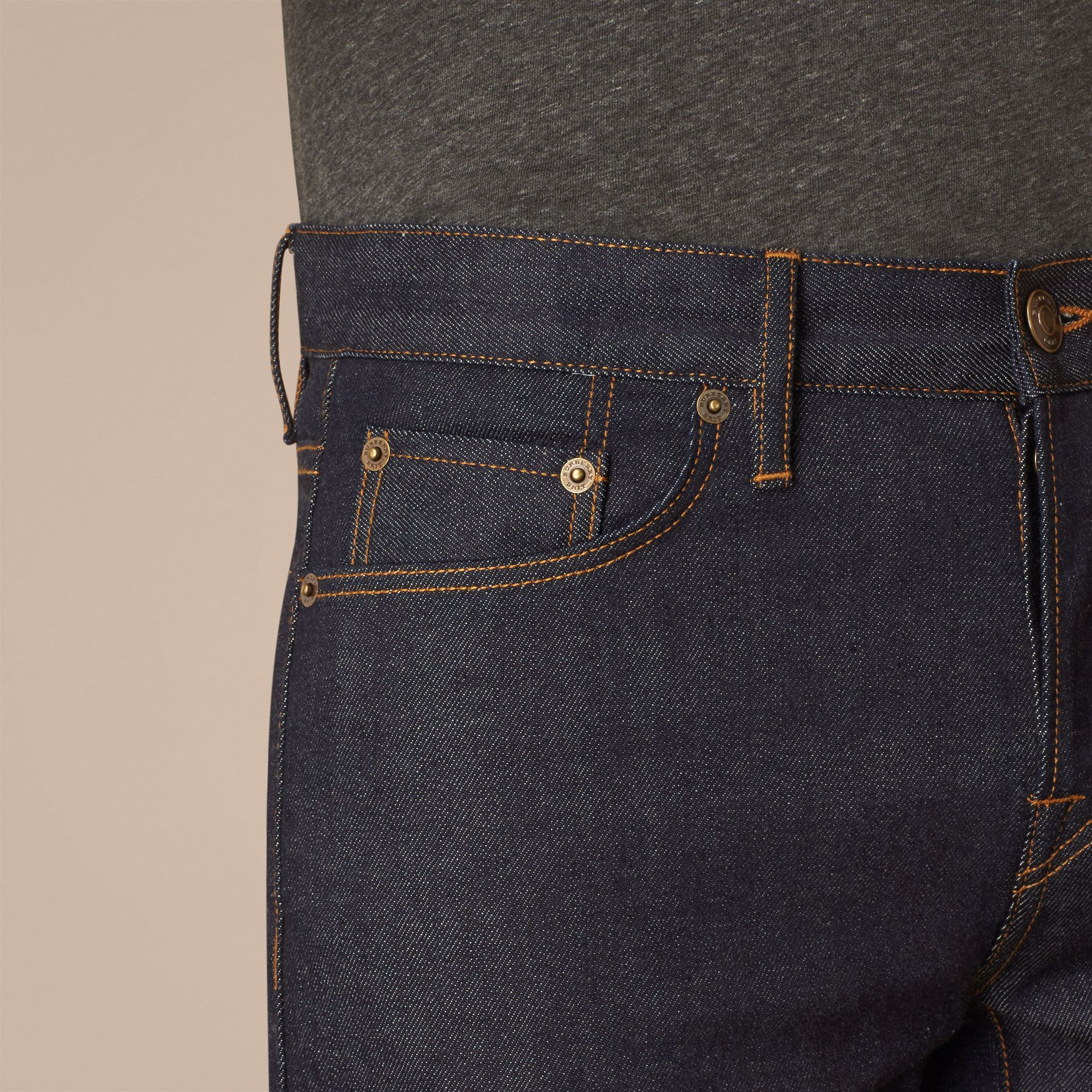 Dark indigo Straight Fit Selvedge Jeans - gallery image 5