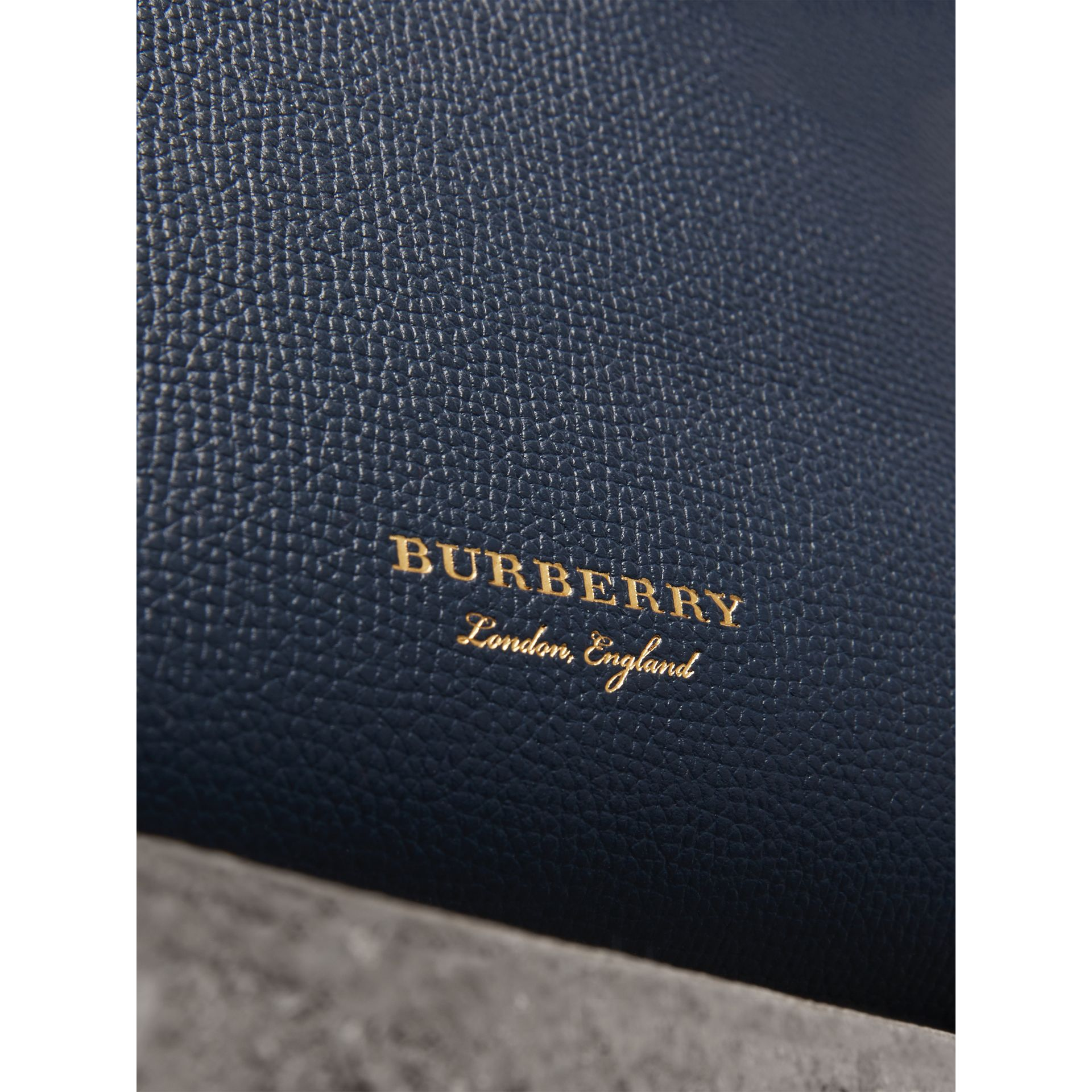 The Baby Banner in Leather and House Check in Ink Blue - Women | Burberry United States - gallery image 1
