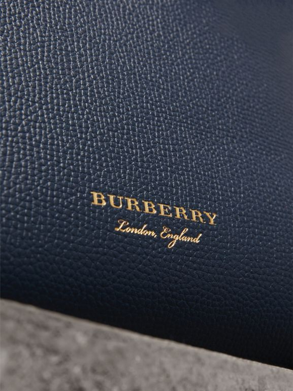 The Baby Banner in Leather and House Check in Ink Blue - Women | Burberry Australia - cell image 1