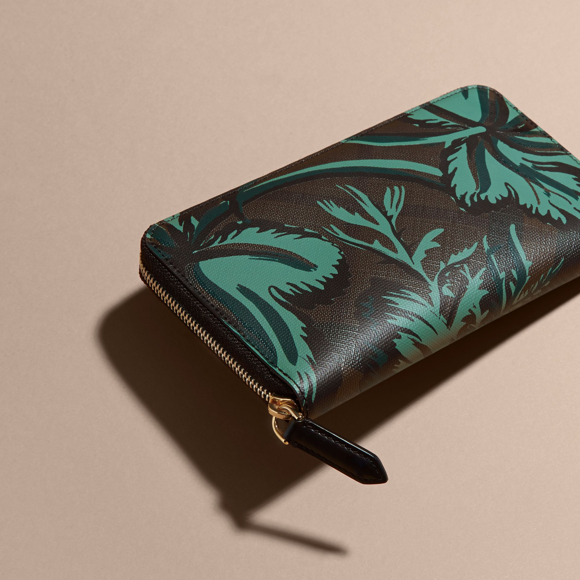Floral Print London Check Ziparound Wallet Chocolate - gallery image 3