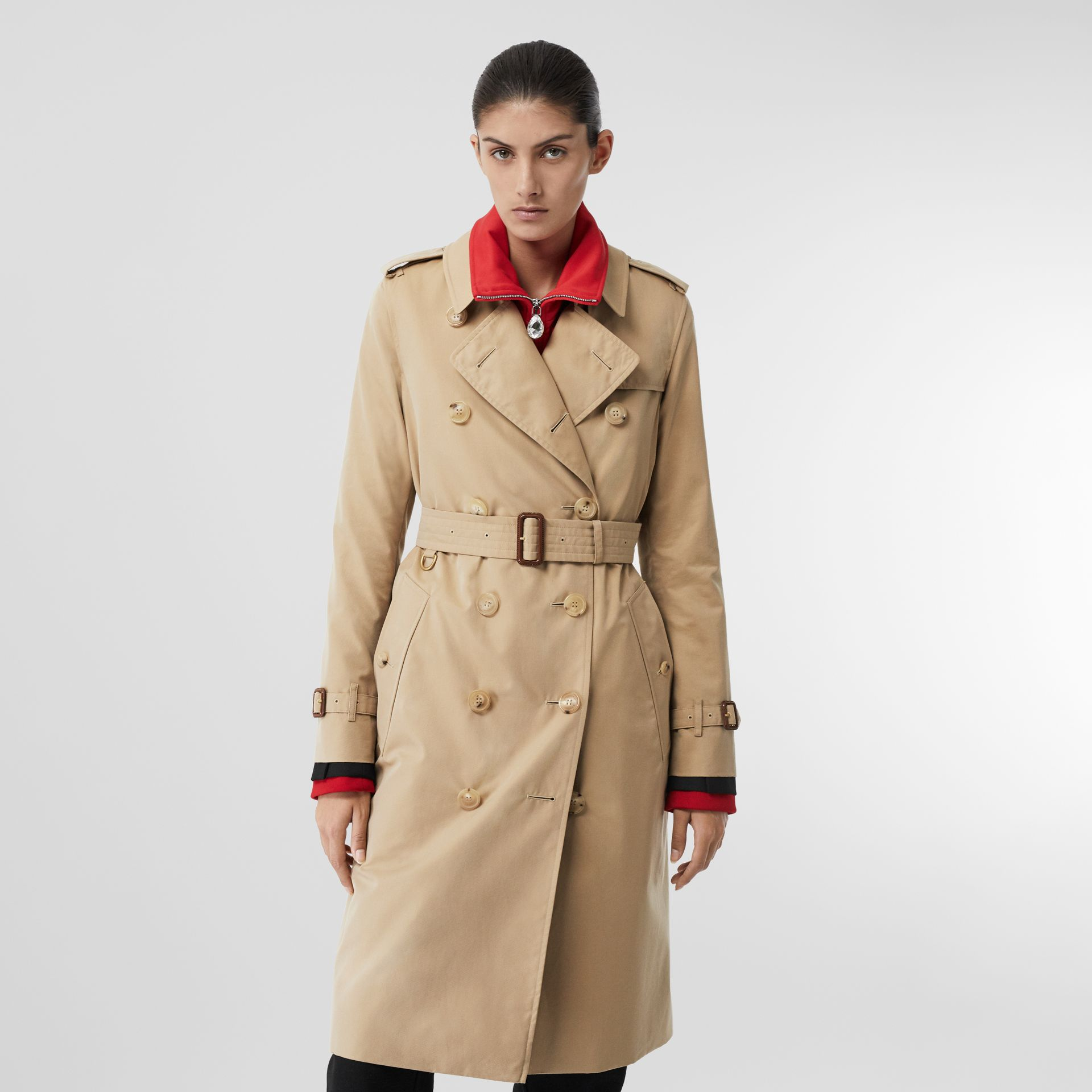 The Long Kensington Heritage Trench Coat in Honey - Women | Burberry United Kingdom - gallery image 7