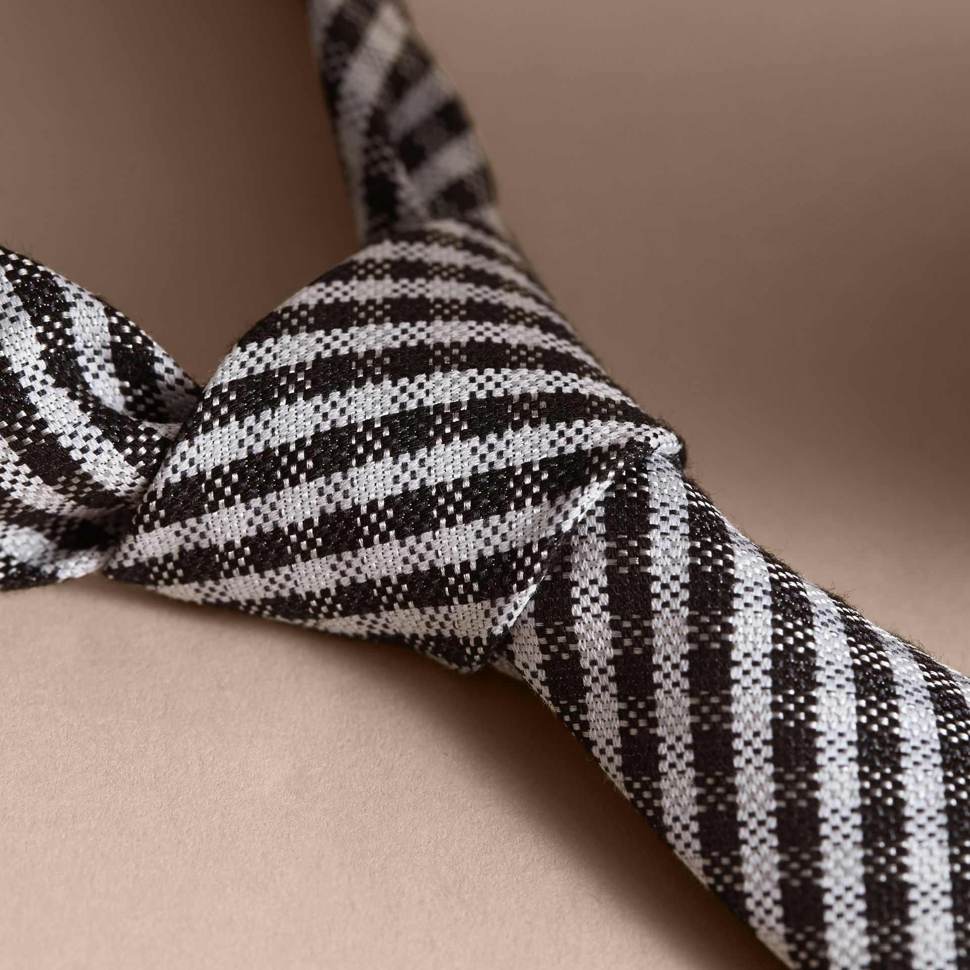 Slim Cut Cotton Silk Gingham Tie in Black - gallery image 2