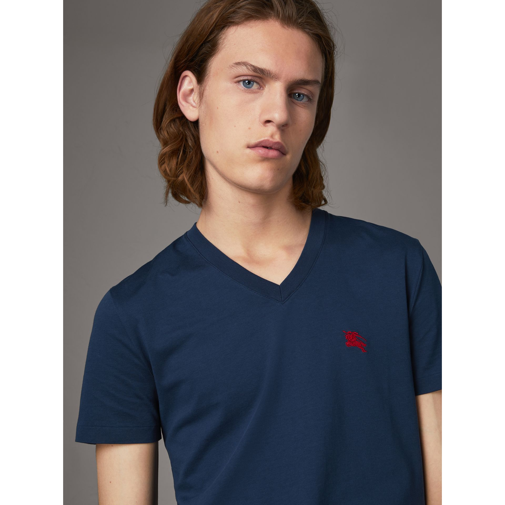 Cotton V-neck T-shirt in Navy - Men | Burberry - gallery image 0