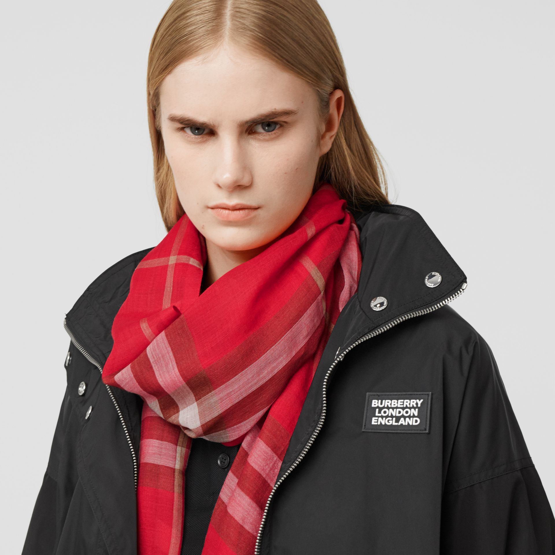 Lightweight Check Wool Silk Scarf in Bright Red | Burberry - gallery image 2