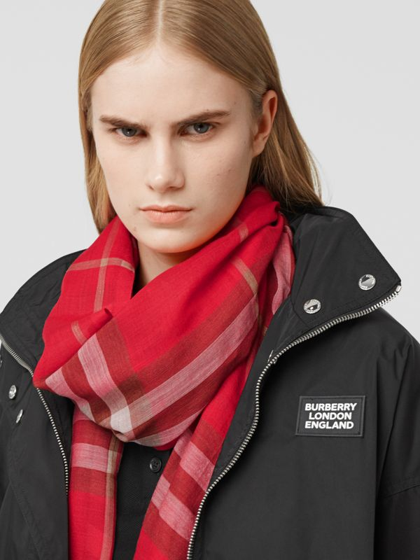 Lightweight Check Wool Silk Scarf in Bright Red | Burberry - cell image 2