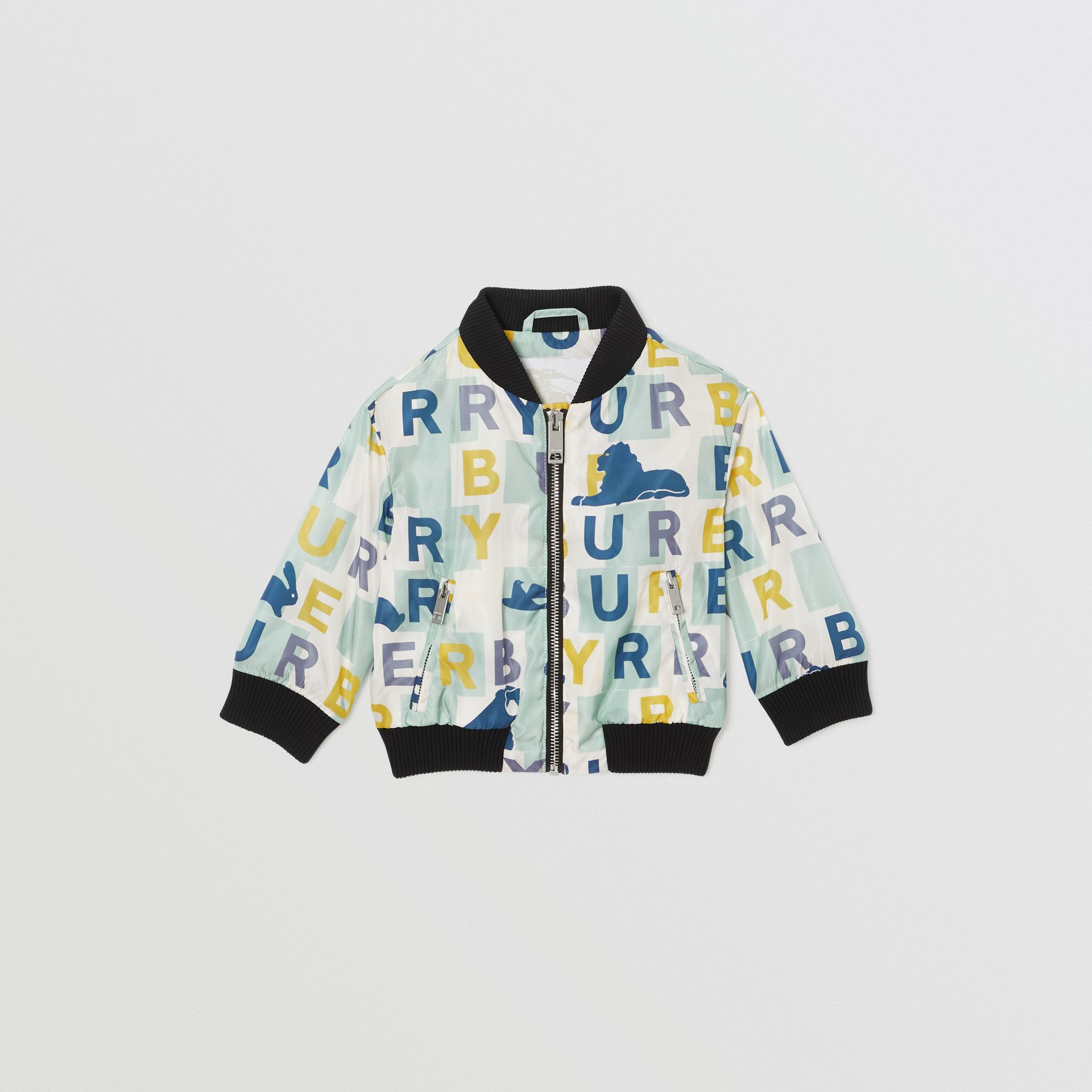 Logo Print Nylon Bomber Jacket in Pale Mint - Children | Burberry - gallery image 0