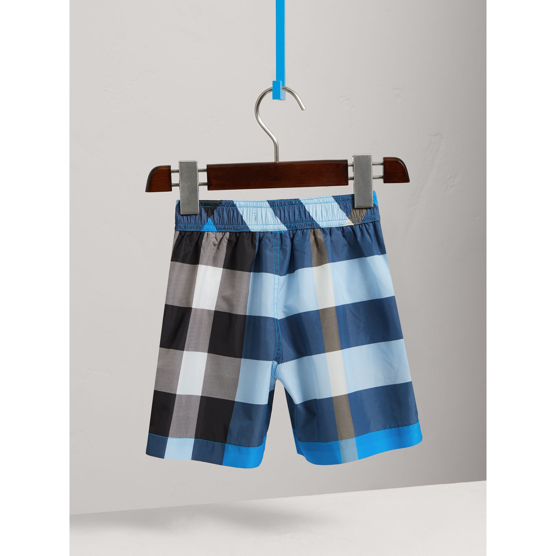 Check Swim Shorts in Cerulean Blue - Boy | Burberry - gallery image 4