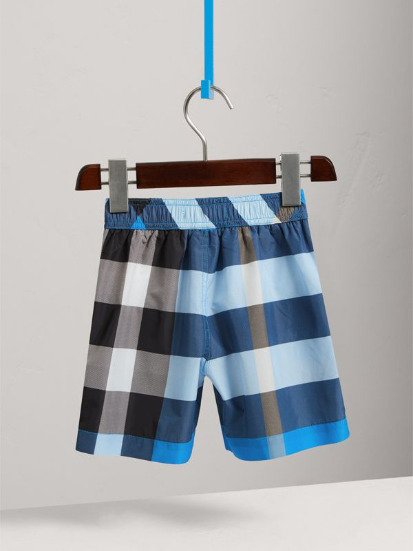 Check Swim Shorts in Cerulean Blue | Burberry - cell image 3