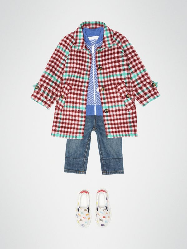 Check Wool Car Coat in Garnet Pink - Children | Burberry - cell image 2
