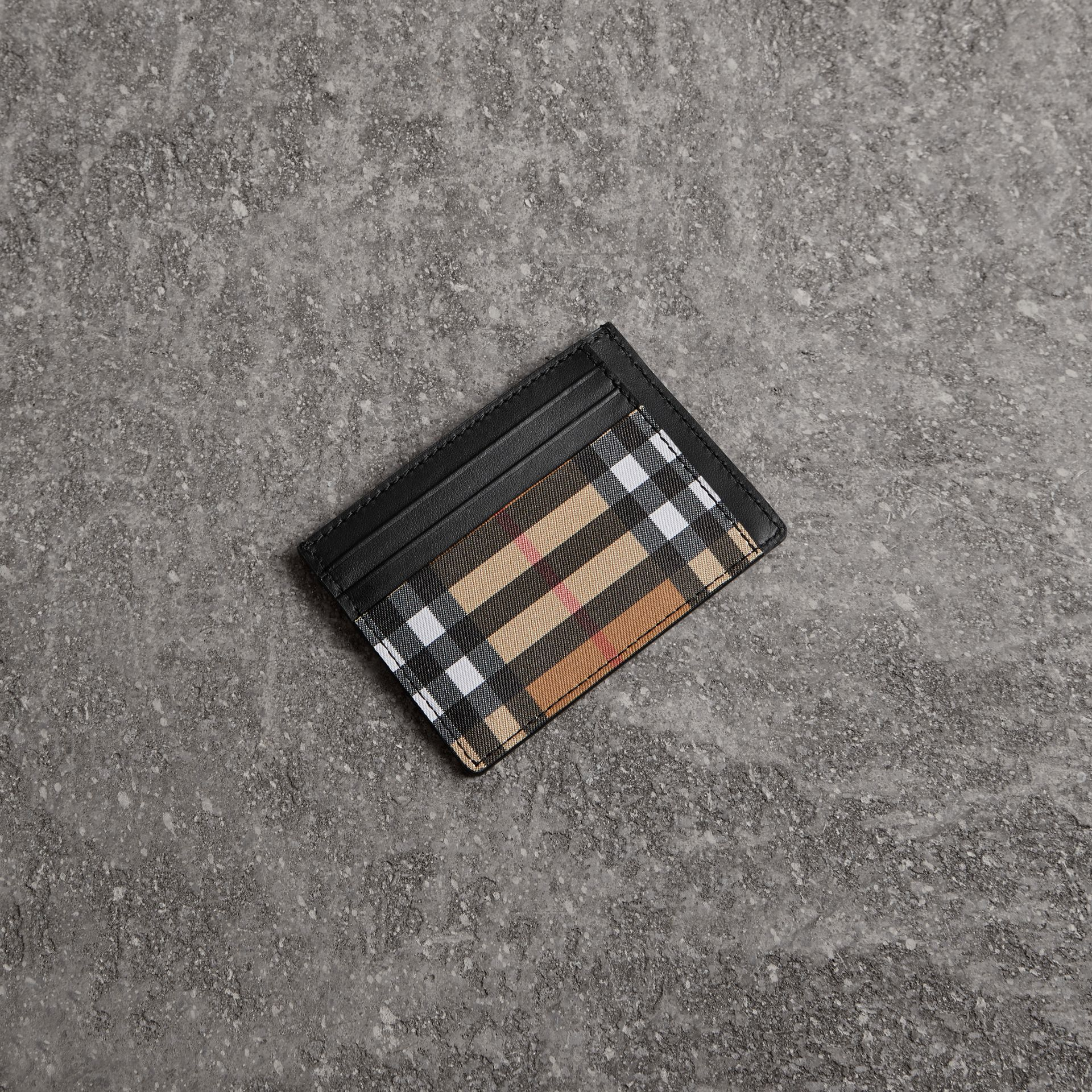 Vintage Check Leather Card Case in Black - Men | Burberry Singapore - gallery image 0
