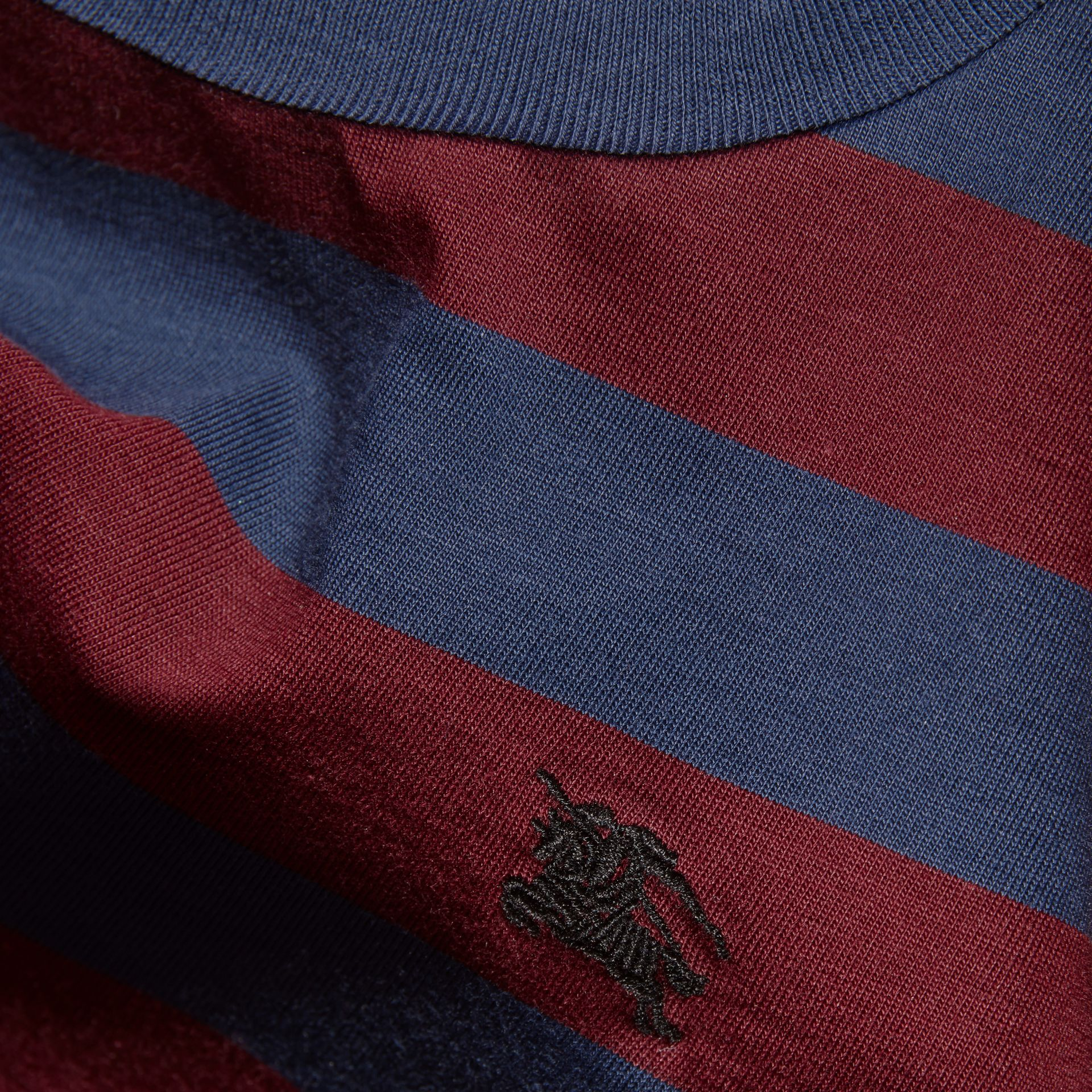 Burgundy red Striped Cotton T-Shirt Burgundy Red - gallery image 2
