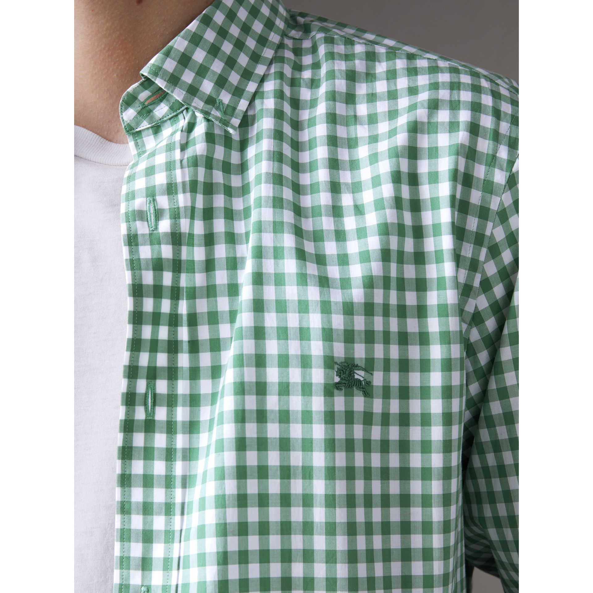 Button-down Collar Gingham Cotton Shirt in Pale Tourmaline - Men | Burberry - gallery image 1