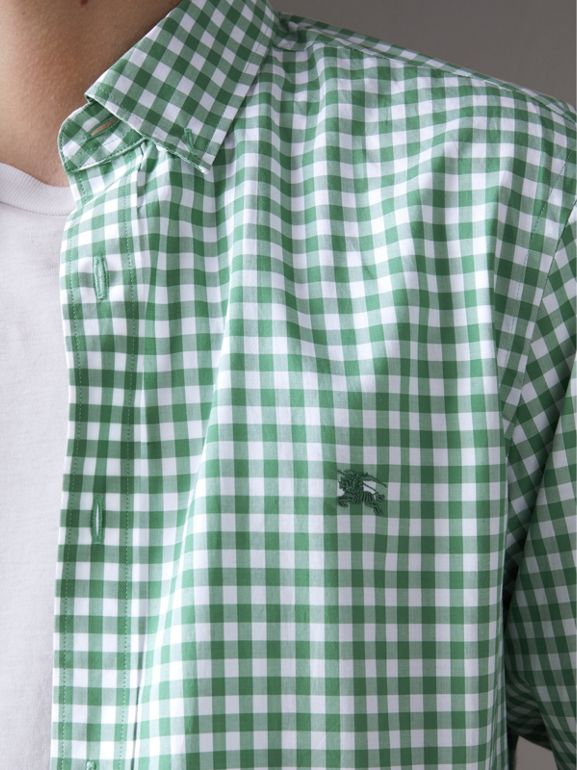 Button-down Collar Gingham Cotton Shirt in Pale Tourmaline - Men | Burberry - cell image 1
