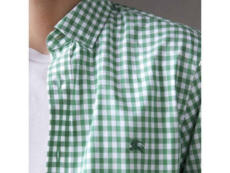 Button-down Collar Gingham Cotton Shirt in Pale Tourmaline - Men | Burberry United Kingdom - cell image 1
