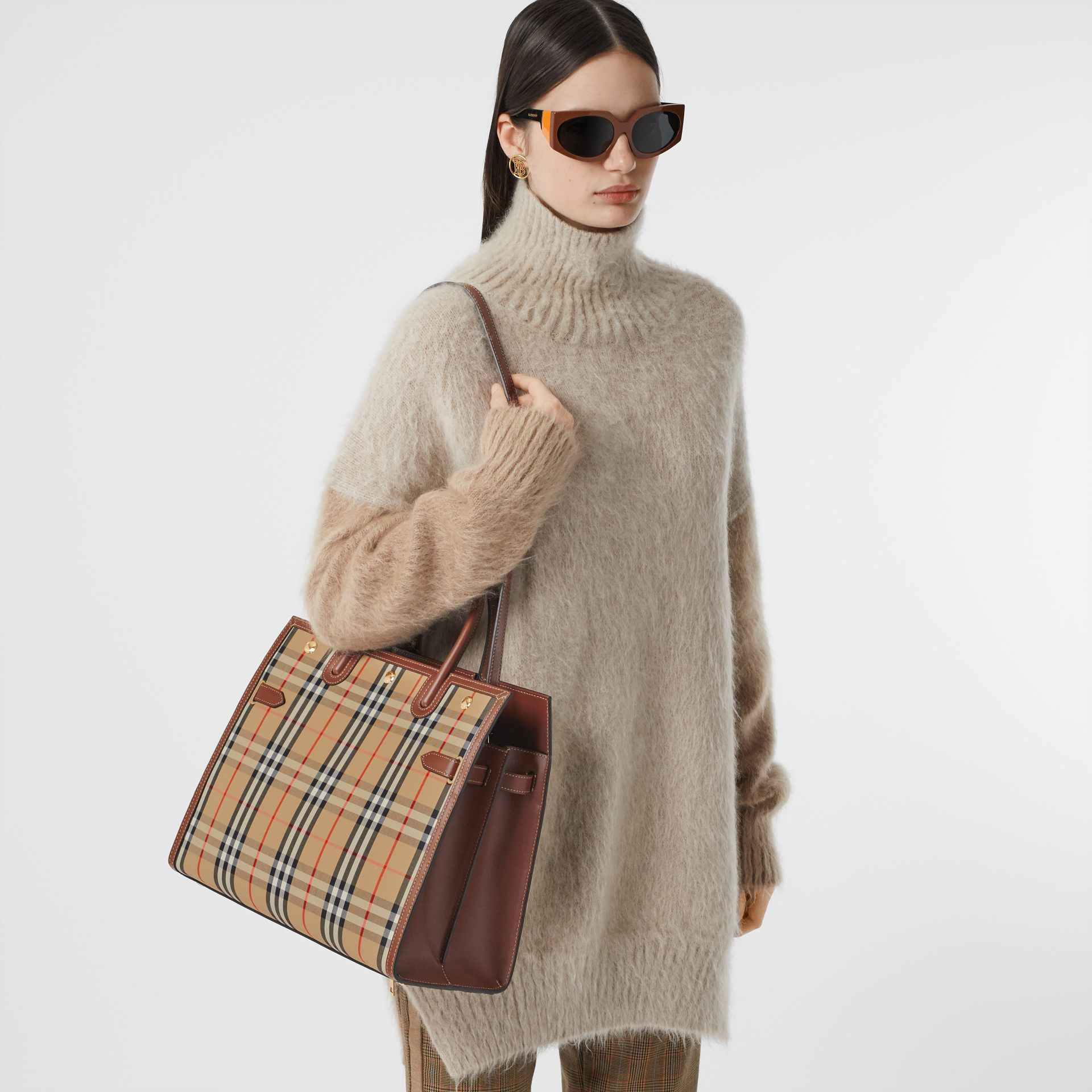 Medium Vintage Check Two-handle Title Bag in Archive Beige - Women | Burberry Canada - gallery image 8