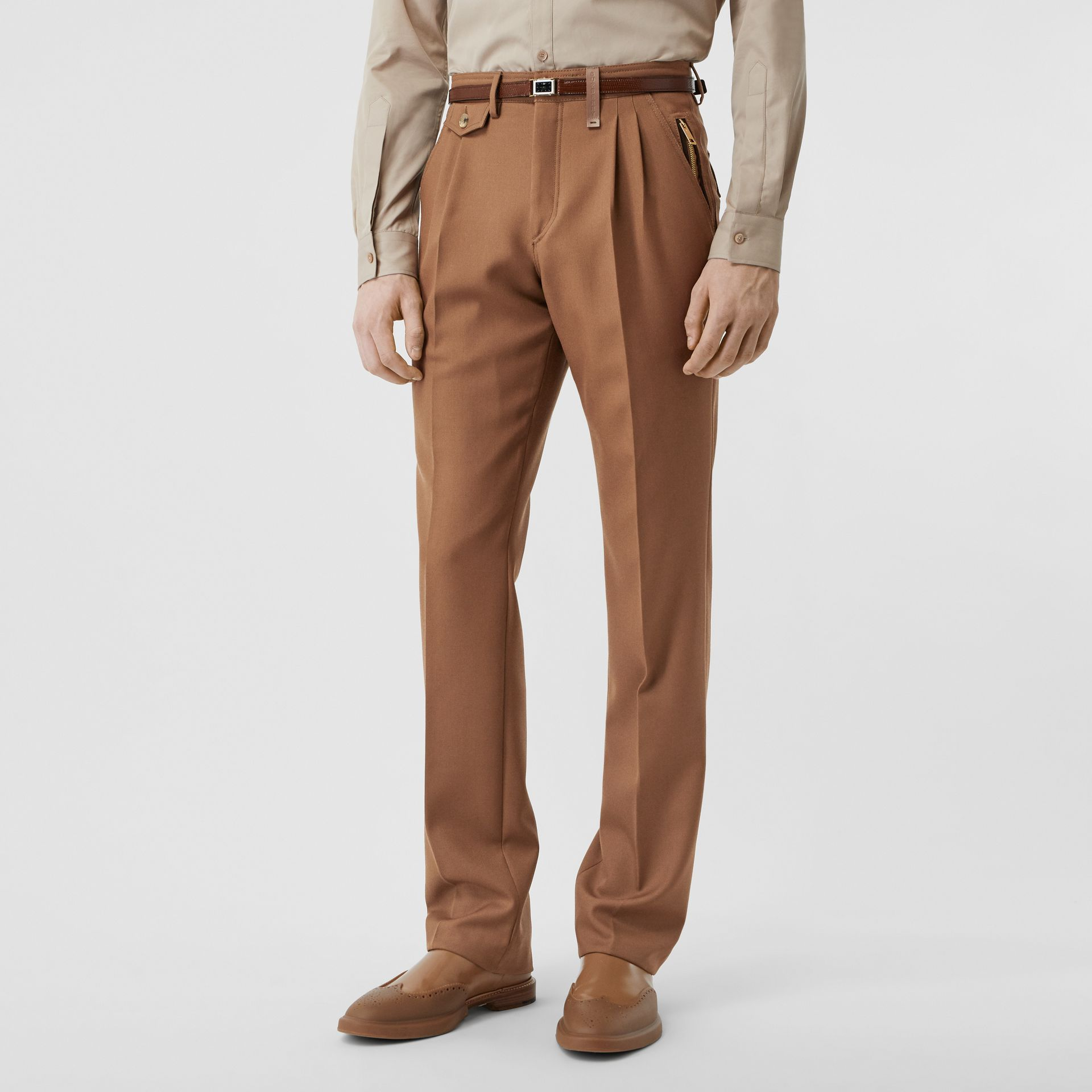 Zip Detail Wool Twill Pleated Trousers in Dark Walnut - Men | Burberry - gallery image 4