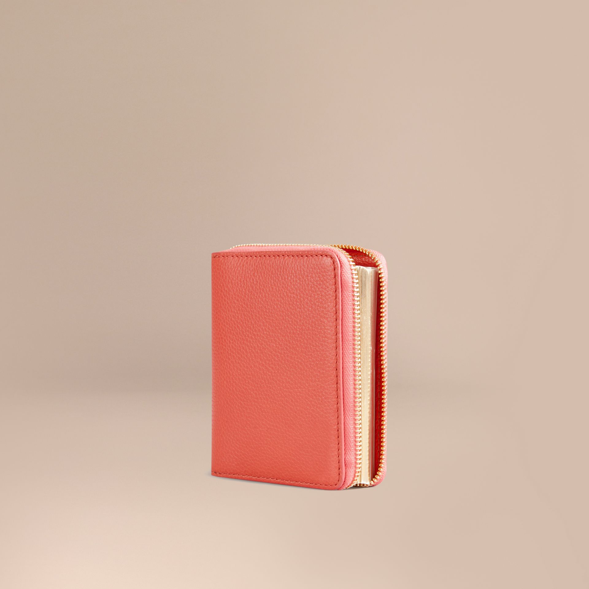 Ziparound Grainy Leather Mini Notebook in Bright Peony | Burberry - gallery image 1