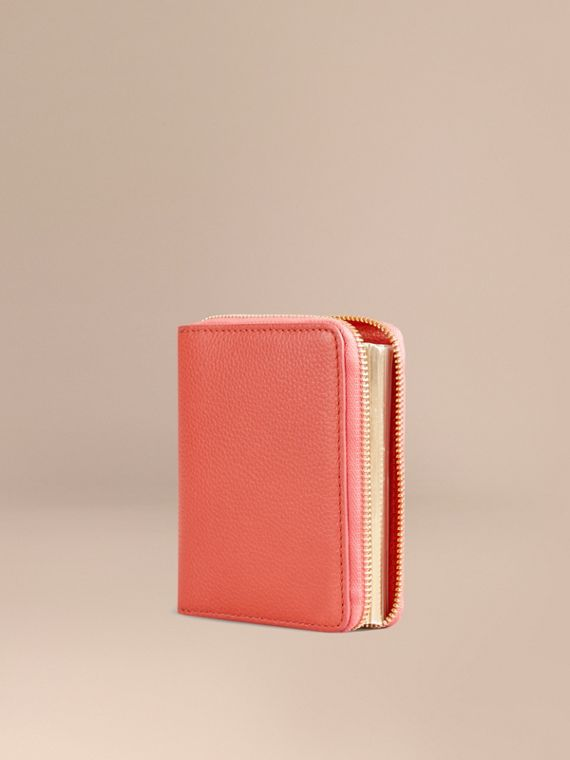 Ziparound Grainy Leather Mini Notebook in Bright Peony