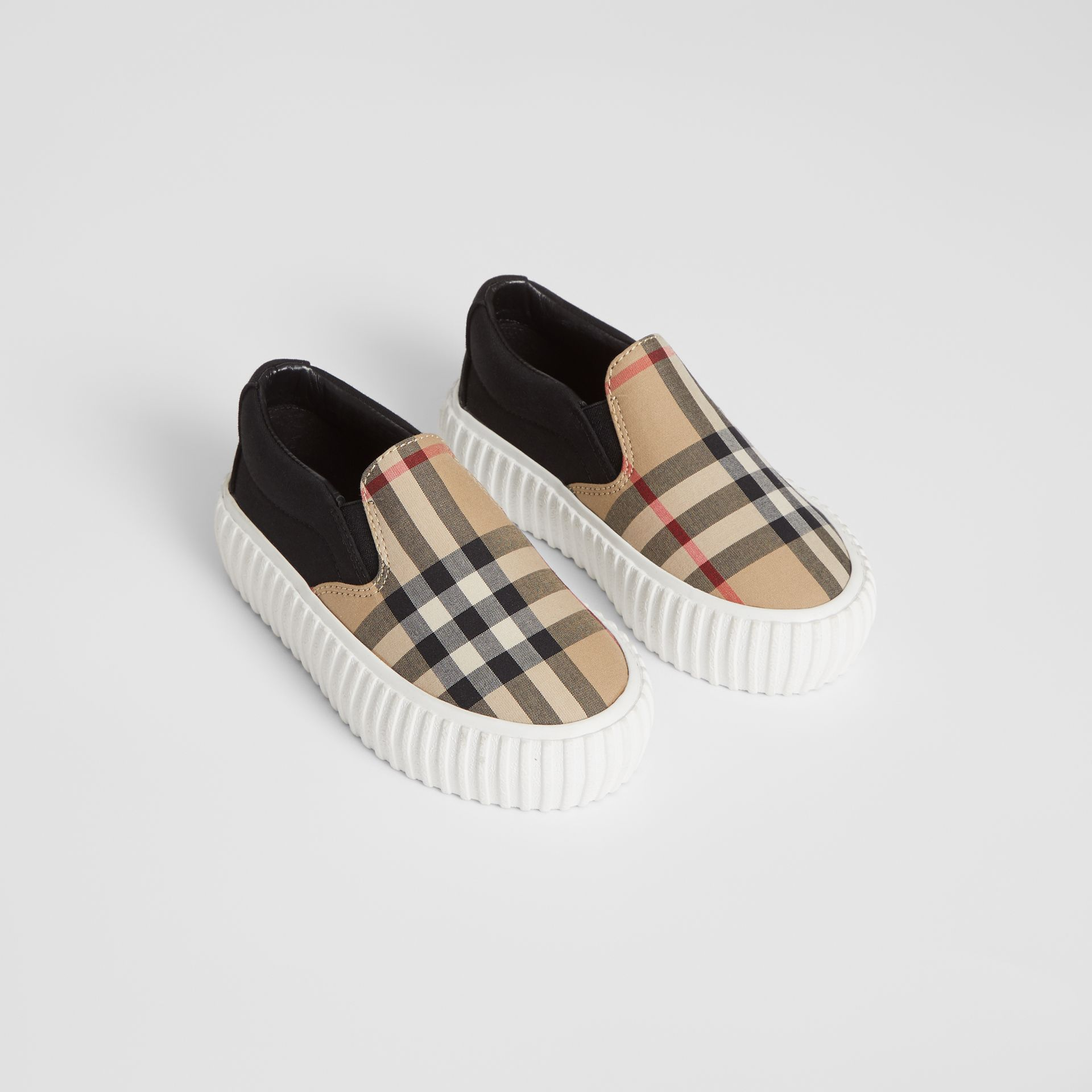 Vintage Check Detail Cotton Slip-on Sneakers in Archive Beige/black - Children | Burberry - gallery image 0