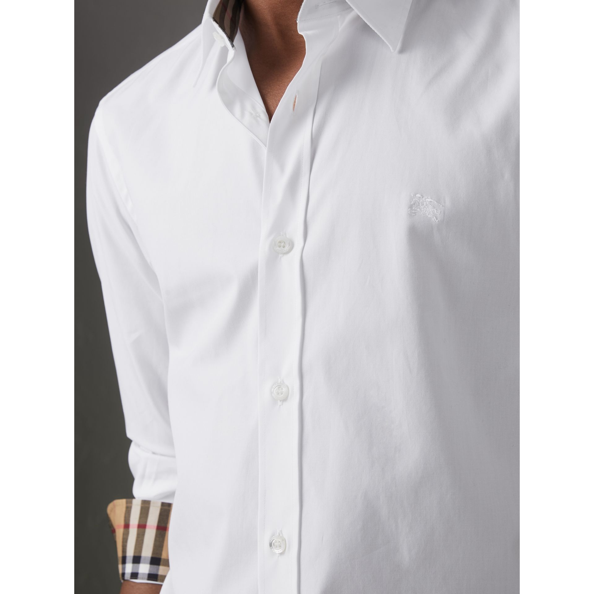 Check Cuff Stretch Cotton Poplin Shirt in White - Men | Burberry United Kingdom - gallery image 1