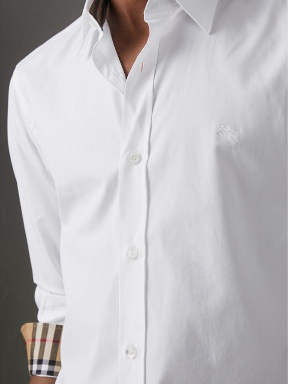 Check Cuff Stretch Cotton Poplin Shirt in White - Men | Burberry United Kingdom - cell image 1
