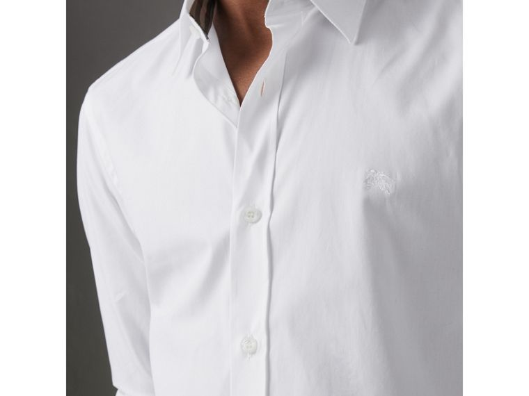 Check Cuff Stretch Cotton Poplin Shirt in White - Men | Burberry - cell image 1