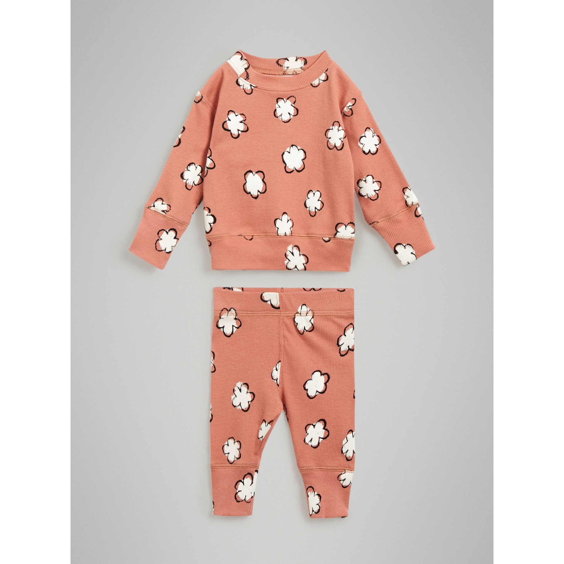 Flower Print Cotton Four-piece Baby Gift Set in Dusty Pink - Children | Burberry United Kingdom - gallery image 2