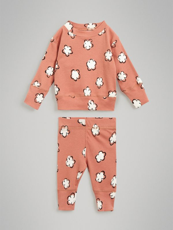 Flower Print Cotton Four-piece Baby Gift Set in Dusty Pink - Children | Burberry United Kingdom - cell image 2