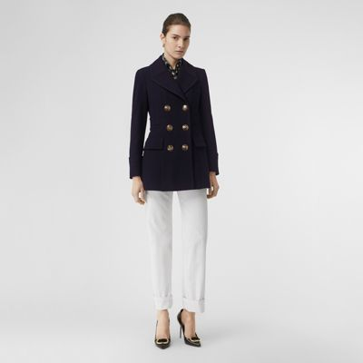 Doeskin Wool Tailored Pea Coat by Burberry