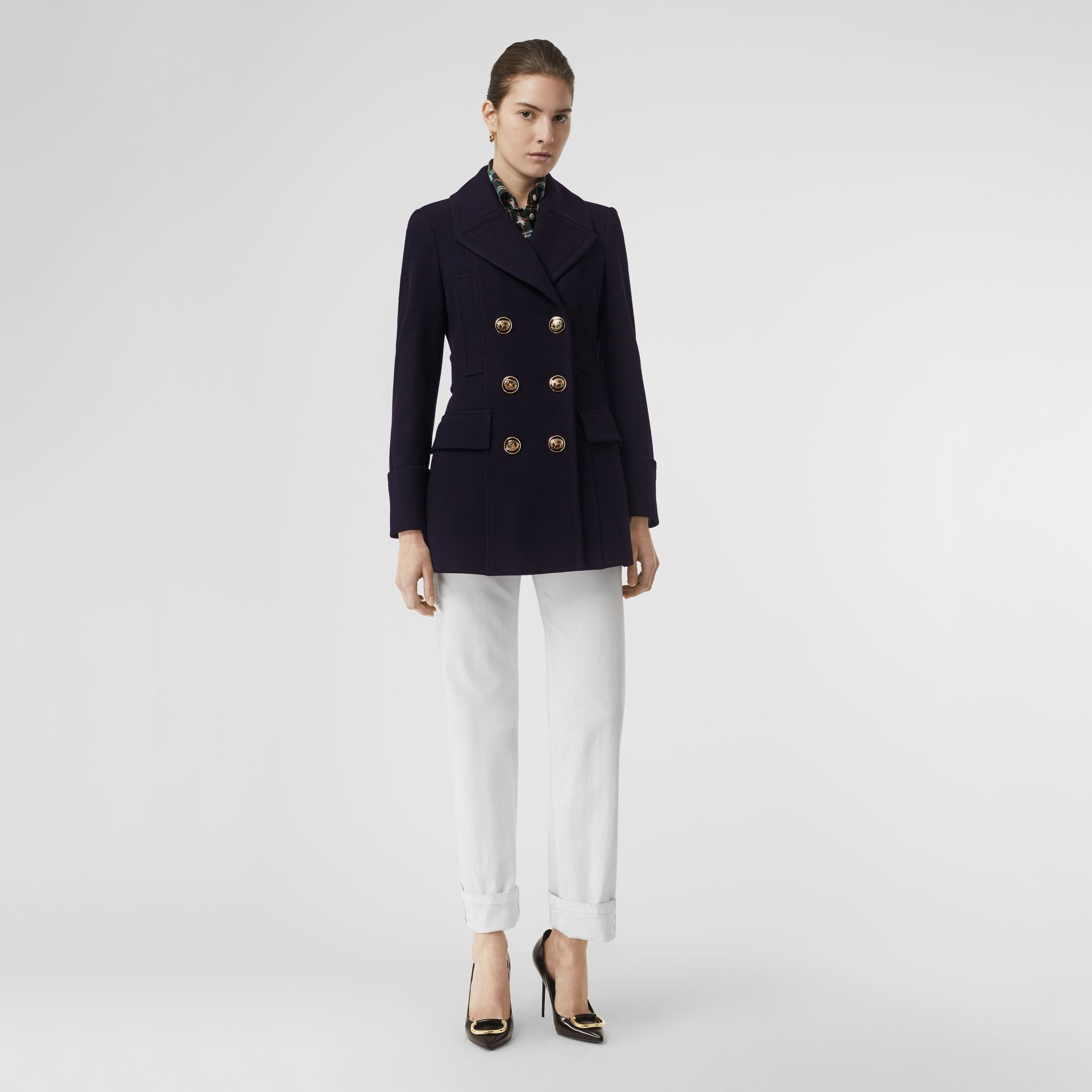 Doeskin Wool Tailored Pea Coat in Navy - Women | Burberry - gallery image 0