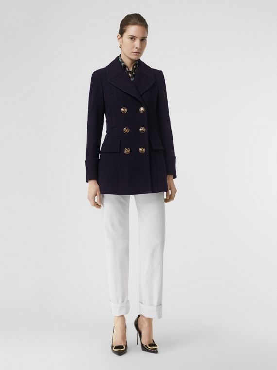 Doeskin Wool Tailored Pea Coat in Navy