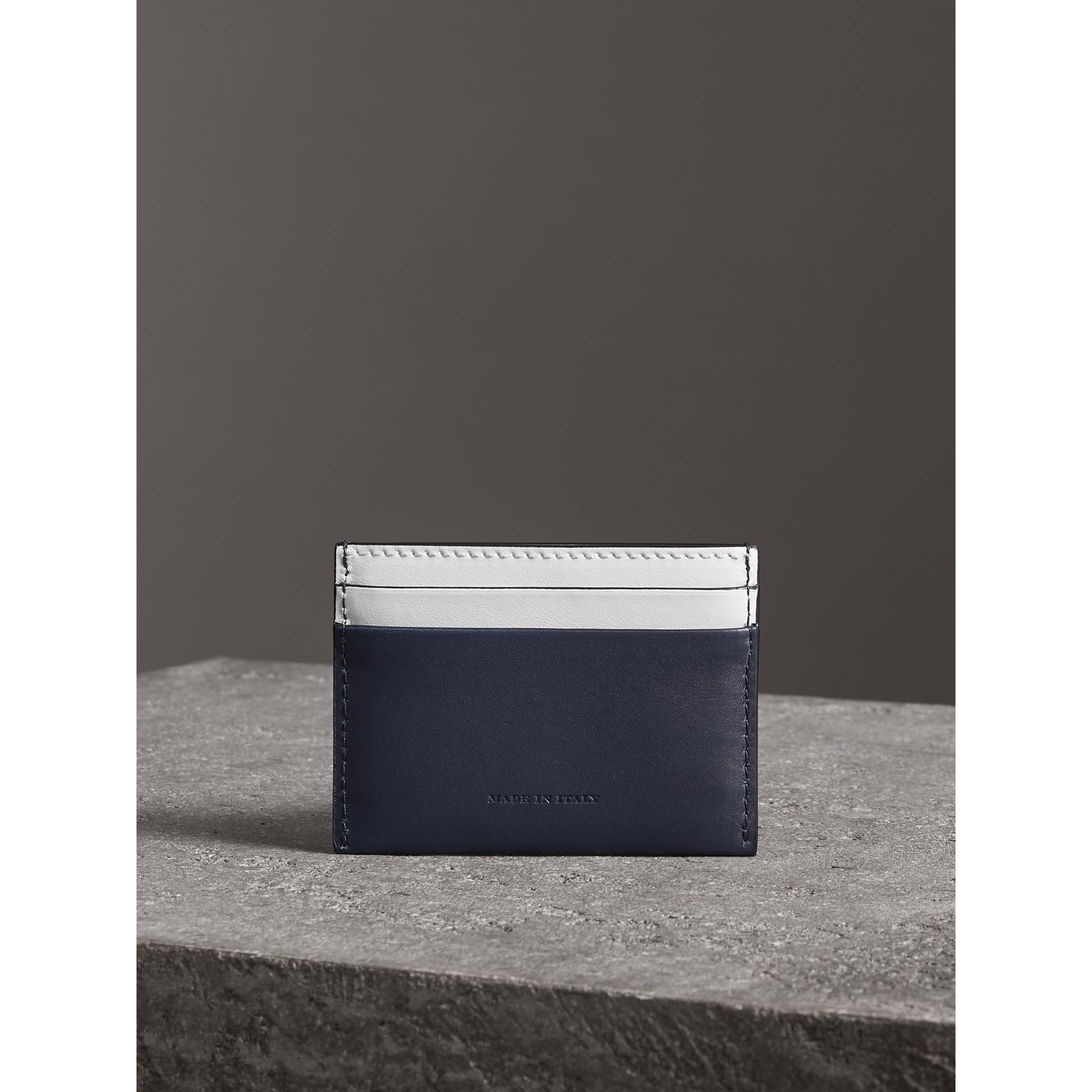 Two-tone Leather Card Case in Mid Indigo | Burberry - gallery image 2