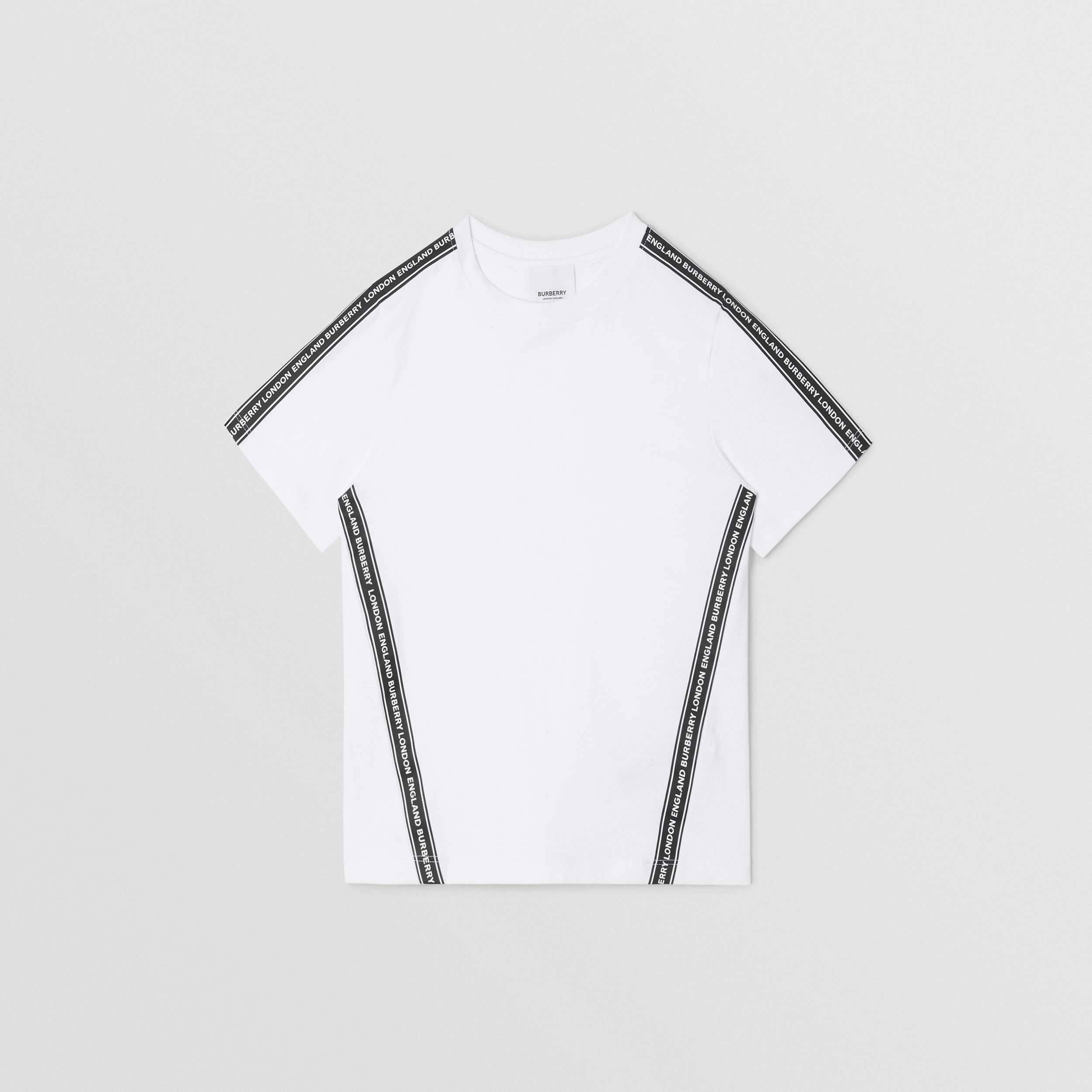 Logo Tape Cotton T-shirt in White | Burberry - 1