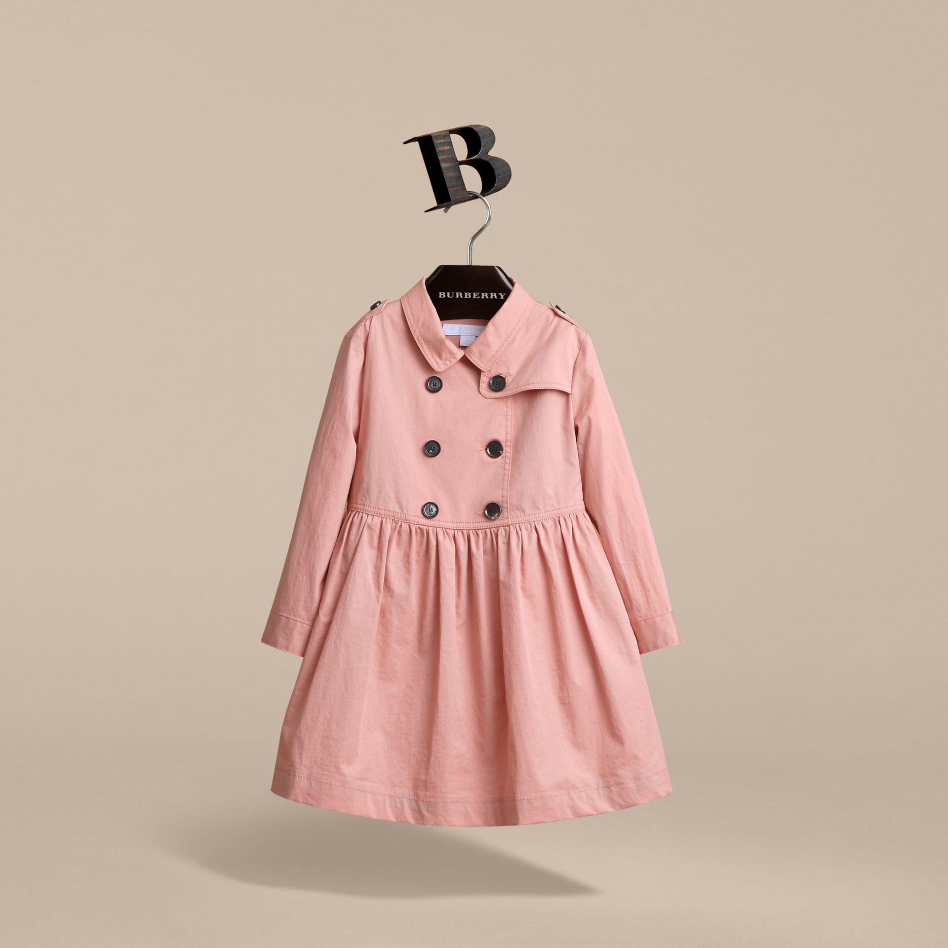 Check Detail Stretch Cotton Trench Dress in Pale Rose | Burberry - gallery image 4