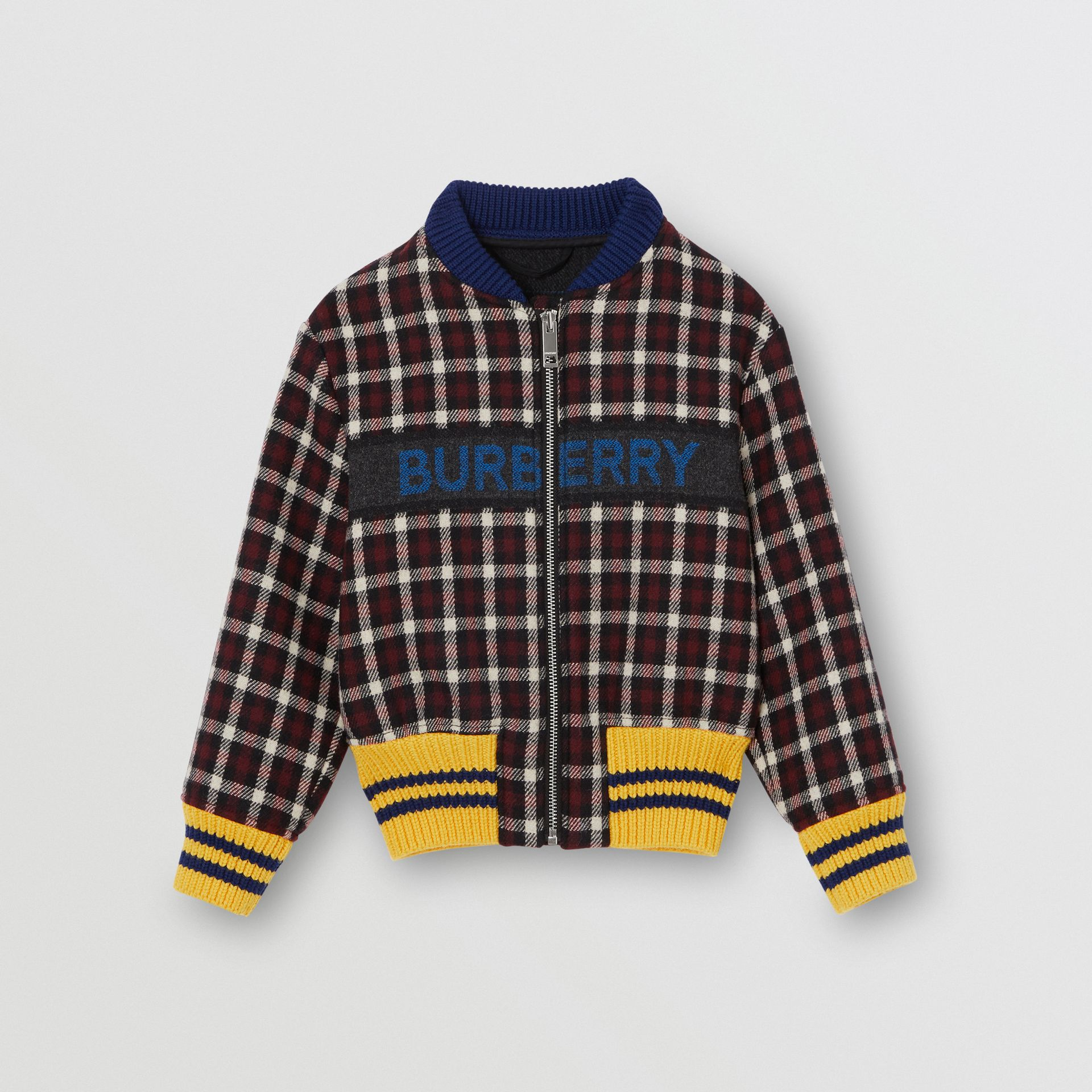 Logo Detail Check Wool Bomber Jacket in Claret | Burberry United Kingdom - gallery image 0