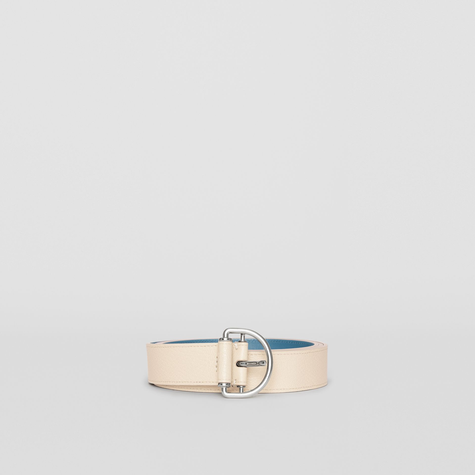 Grainy Leather D-ring Belt in Stone/pewter Blue - Women | Burberry Australia - gallery image 3